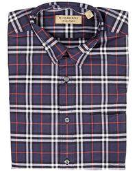 Burberry Checked Cotton-poplin Shirt - Blue