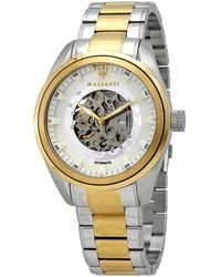 Maserati Traguardo Automatic White Skeleton Dial Mens Watch - Metallic