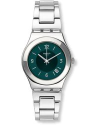 Swatch Irony Middlesteel Quartz Green Dial Ladies Watch
