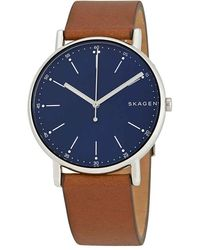 Skagen Signature Blue Dial Brown Leather Mens Watch