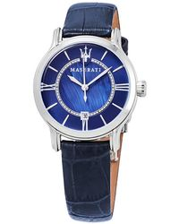 Maserati Epoca Blue Dial Blue Leather Ladies Watch