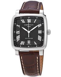 Certina Ds Podium Grey Dial Brown Leather Watch - Multicolour