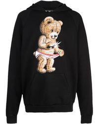DOMREBEL Mens Teddy  Print Hoodie In Black, Brand