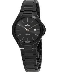 Edox Delfin Quartz Dial Watch  37nm Nig - Black