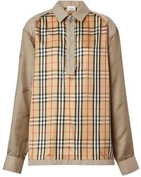 Burberry Mens Seam Detail Vintage Check Shirt, Brand - Natural