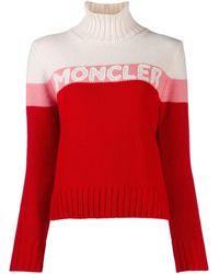 Moncler Ladies Turtleneck Logo Sweater, Brand - Red
