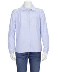 Burberry Ladies Woven Cornflower Rounded Collar Shirt - Blue