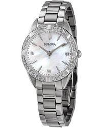 Bulova Quartz Diamond Mother Of Pearl Dial Ladies Watch - Metallic