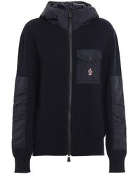 Moncler Mens Blue Cardigan With Zip And Hood, Brand