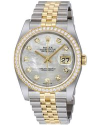 Rolex Datejust 36 Mother Of Pearl Dial Stainless Steel And 18k Yellow Gold Jubilee Bracelet Automatic Ladies Watch - Metallic
