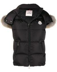 Moncler Ladies Padded Vest With Fur Hood In Black, Brand
