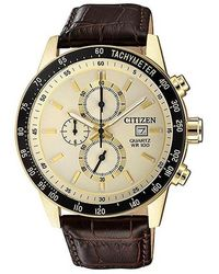 Citizen Chronograph Tachymeter Quartz White Dial Mens Leather Band Watch -02a - Metallic