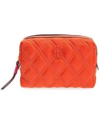 Tory Burch Ladies Perry Nylon Mixed-stitch Small Cosmetic Case - Orange