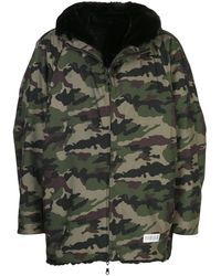 Mostly Heard Rarely Seen Camouflage-print Seen Fur Lined Hooded Jacket, Brand - Green