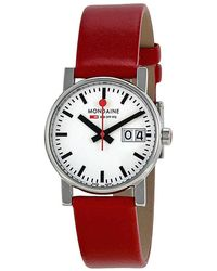 Mondaine Evo Big Date White Dial Red Leather Ladies Watch