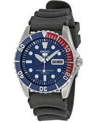 Seiko 5 Sports Automatic Blue Dial Pepsi Bezel Mens Watch