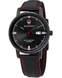 Maserati Classe Black Dial Black Leather Mens Watch