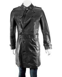 Burberry Mens Lambskin Trench Coat, Brand - Black