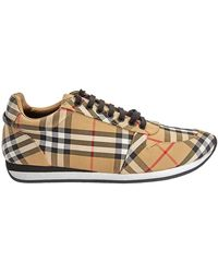 Burberry Mens Lace Up Vintage Check Camel Travis Trainers - Yellow