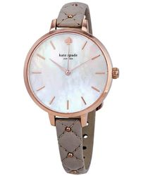 Kate Spade Metro Three-hand Leather Strap Watch - Grey