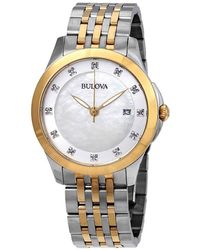 Bulova - Classics Diamond White Mother Of Pearl Dial Ladies Watch - Lyst
