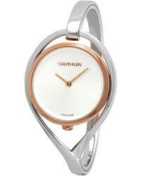 Calvin Klein Party Two-tone Pvd Stainless Steel Bangle Bracelet Watch 28mm - Metallic