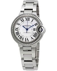 Cartier Ballon Bleu Silver Flinque Sunray Dial Ladies Watch - Metallic