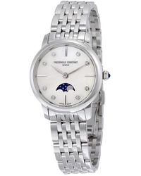 Frederique Constant Slimline Mother Of Pearl Dial Diamond Ladies Watch -206mpwd1s6b - Metallic