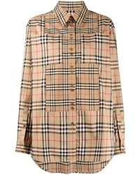 Burberry Contrast Vintage Check Shirt - Natural