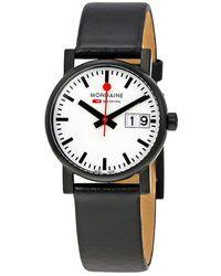 Mondaine Evo White Dial Black Leather Ladies Watch