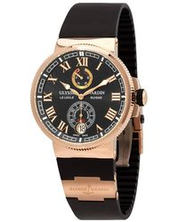 Ulysse Nardin Diver Blue Dial Automatic Mens Chronograph 18k Rose Gold Watch -151-3/93 - Multicolor