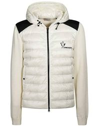 Moncler Lined Panelled Jumper In Ivory - White