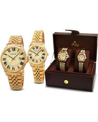August Steiner Quartz Champagne Dial His And Hers Watch Set -s - Metallic