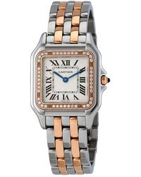 detailed look 57f06 a5b11 Cartier Panthere Meduim Diamond Silver Dial Ladies Watch ...