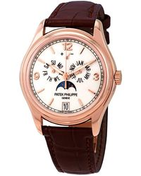 Patek Philippe Complications Moonphase Automatic 18kt Rose Gold Mens Watch - Pink
