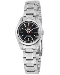 Seiko 5 Automatic Black Dial Stainless Steel Ladies Watch - Metallic