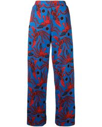 KENZO Flying Phoenix Jacquard Pants - Blue