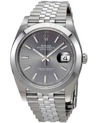 Rolex Oyster Perpetual Datejust Rhodium Dial Automatic Jubilee Watch - Metallic