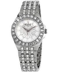 Bulova Phantom Quartz Crystal Silver-tone Pave Dial Ladies Watch - Metallic