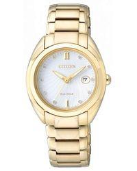 Citizen Diamond White Dial Ladies Watch -54a - Metallic