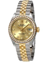Rolex Lady Datejust Champagne Diamond Dial Automatic Watch - Metallic