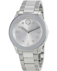 Movado Bold Silver Dial Stainless Steel Ladies Watch - Metallic