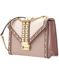 Michael Kors Ladies Whitney Studded Tri-color Leather Convertible Shoulder Bag - Multicolour