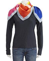 Tory Burch Ladies Colorblock Logo Silk Sqaure Scarf - Multicolor