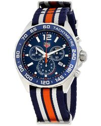 Tag Heuer Caz1014.fc8196 Formula 1 Stainless Steel And Canvas Watch - Blue