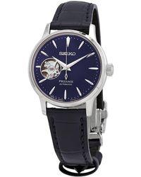 Seiko Presage Automatic Blue Dial Blue Leather Ladies Watch - Metallic