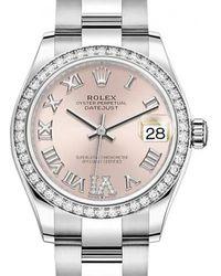 Rolex Datejust 31 Automatic Diamond Pink Dial Ladies Watch - Metallic