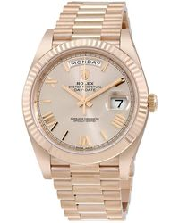 Rolex Day-date 40 Silver Diagonal Motif Dial 18k Yellow Gold President Automatic Mens Watch - Metallic