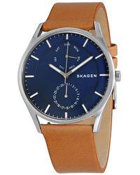 Skagen - Holst Multifunction Blue Dial Leather Mens Watch - Lyst