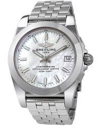 Breitling Pre-owned Galactic 36 Mother Of Pearl Dial Stainless Steel Unisex Watch W7433012-a779ss - Metallic